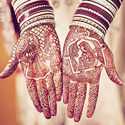 Henna name search!  Often when the bride gets her bridal mehendi done, the groom's name is written and disguised in the intricate patterns. The groom has to look for his name on her hand. This game gives the groom a chance to hold his bride's hand for the first time.