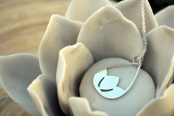 Lotus Pendant Flower Necklace Sterling Silver Water by LolaAndCash