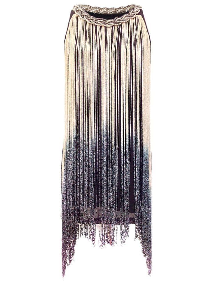 1920s Gatsby Long Swinging Fringe Tassel Flapper Cocktail Dress – X-Small / Small Beige