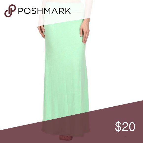 Mint Maxi Skirt Solid color maxi skirt with fold over waist in mint green. Polyester spandex blend. FFMGifts.com Skirts Maxi