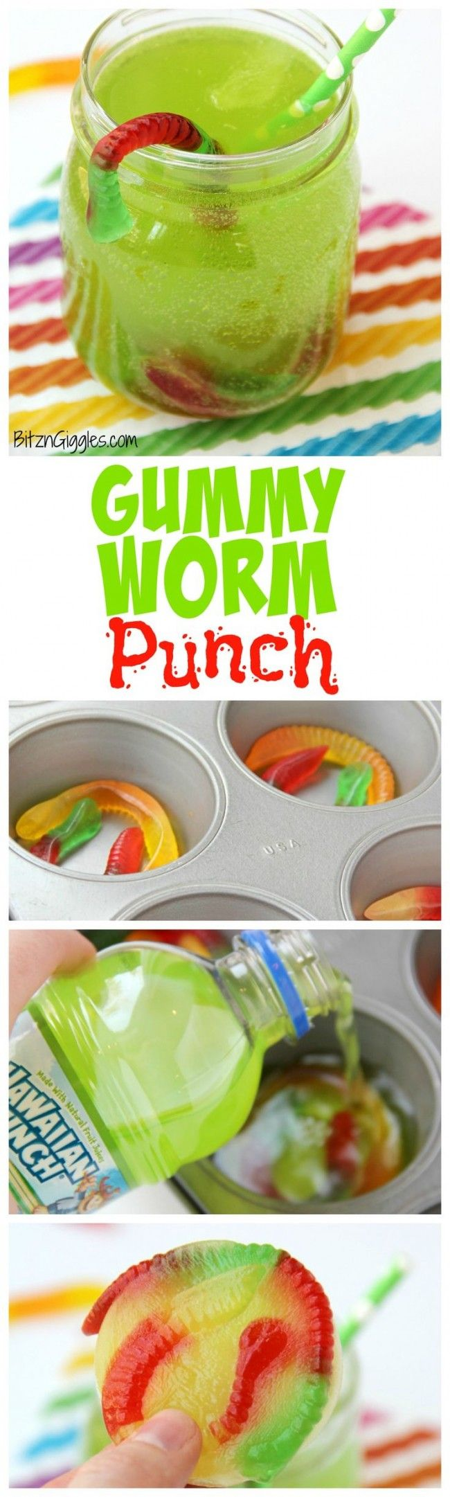Gummy Worm Punch - Kids will love sipping on this drink in the summer! Great idea for birthday parties, St. Patrick's Day, Halloween and Christmas (Grinch punch) too! Gummy worms are frozen in a punch mixture and emerge from the ice as the drink is enjoyed! So much fun! #gummy