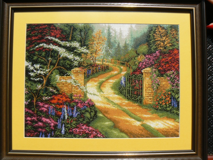 Journey to Spring - Hand embroidered gobelin-tapestry. Dimensions are: 22X30 cm ( 8.7x11.8 in), a total of 35 colors were used.