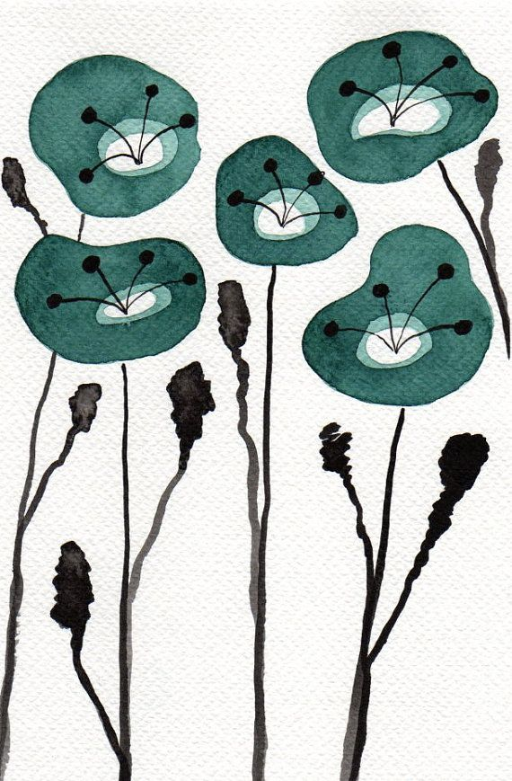 Buy 2 Get 1 FREE -- Watercolor Painting: Watercolor Flowers -- Art Print --  Teal Poppies  -- Scandinavian Flowers -- 5x7 via Etsy