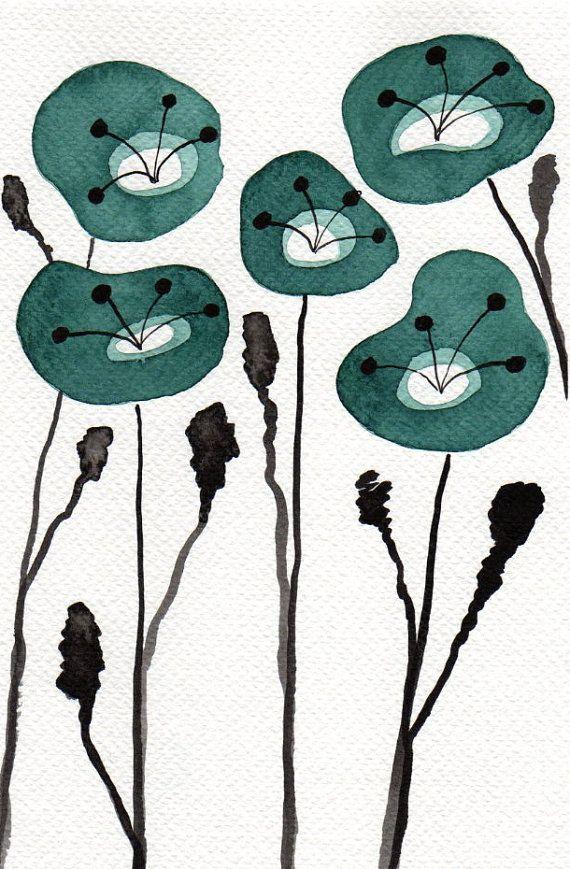 Buy 2 Get 1 FREE -- Watercolor Painting: Watercolor Flowers -- Art Print --  Teal Poppies  -- Scandinavian Flowers -- 5x7 via Etsy