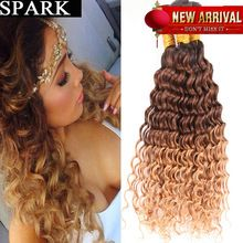 7A Brazilian Hair Weave Bundle 3 or 4 Bundles Brazilian Virgin Hair Deep Curly 100% Human Hair Wigs Kinky Curly Ombre Three Tone(China (Mainland))