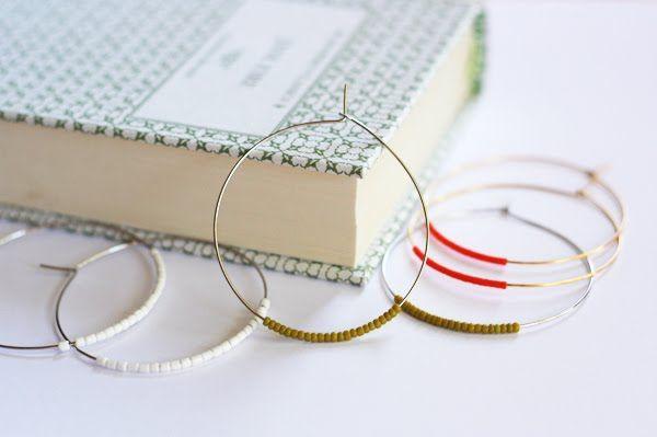 Easy DIY beaded hoop earrings | How About Orange: Gift, Jewelry Making, Diy'S, Diy Jewelry, Hoop Earrings, Easy Diy