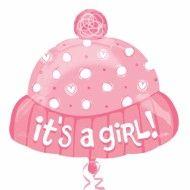 Balon botez folie metalizata caciulita 45cm IT'S A GIRL Hat