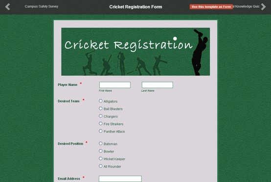 Here's a sample of a Cricket Registration Form made by one of our ...