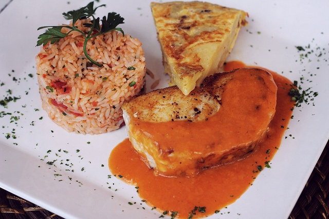 rice, fish, sauce