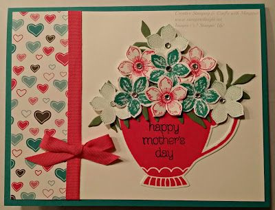 Teacup of Flowers using Stampin' Up! A Nice Cuppa stamp set, Cups & Kettle…