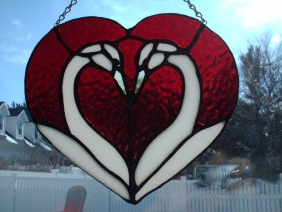 ~ Swans n' Heart Stain Glass Hanging ~
