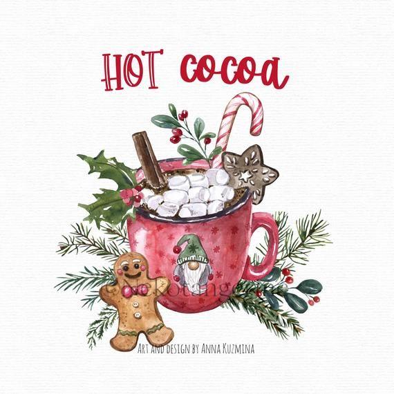 Christmas Hot Cocoa Png Watercolor Red Mug Gingerbread Men Etsy In 2021 Red Mug Watercolor Red Gift Tag Design
