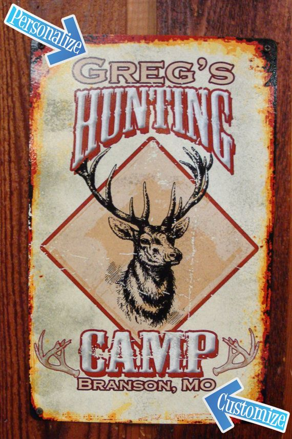 Custom personalized tin metal sign for hunting cabin for Vintage fishing signs