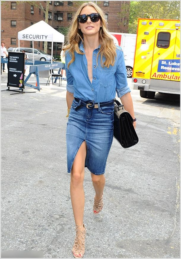casual simple & chic all jean top and skirt/ jupe et chemise en jean