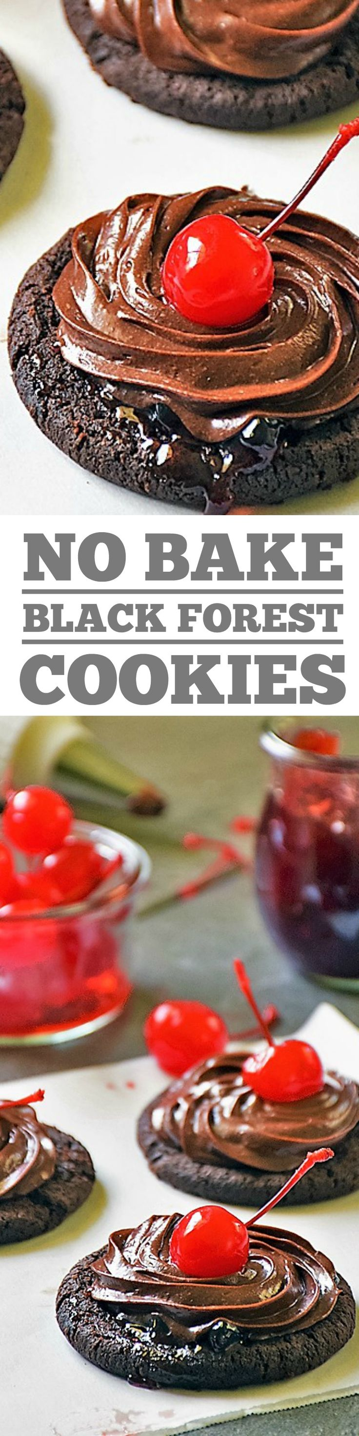 All the chocolaty cherry goodness of a Black Forest Cake, without all the work! Perfect for Christmas!! Black Forest Cookies are the EASIEST holiday cookies you'll ever make, because you don't actually have to make them! It's true! These are NO BAKE cookies, y'all!