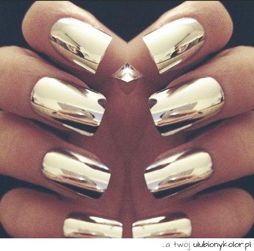 obrazek, sexy, piękne, paznokcie, moda, złote, piękno, błyszczące