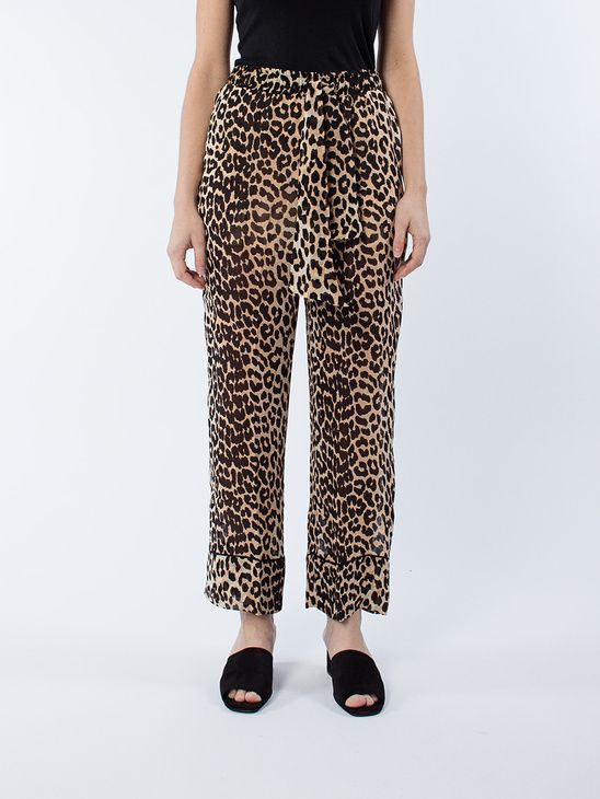 aeef1784 APLACE Fairfax Georgette Leopard - Ganni | Women's | Pants, Pajama ...