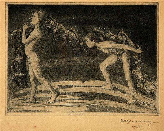 """Köynnöksenkantajat II"" by Hugo Simberg (1906); etching and aquatint.  The two naked boys are his sons."