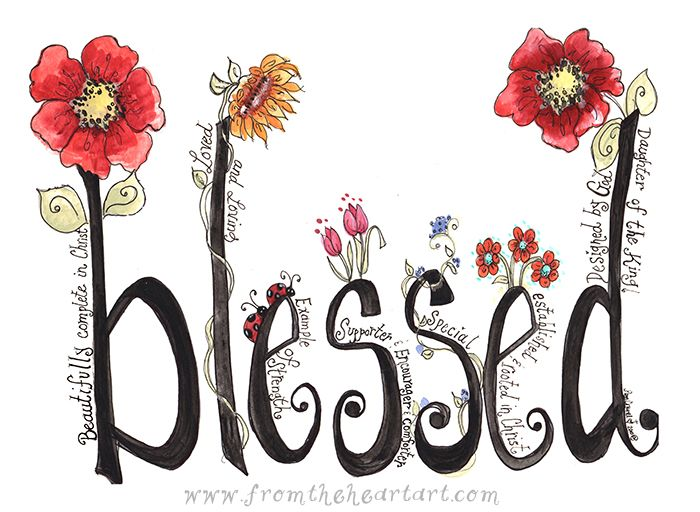 Floral Blessed Print (no border)
