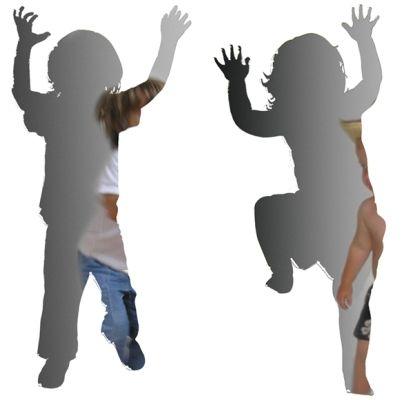 "Kid shaped mirrors. Choose ""Dance"", ""Climb"" or ""Find"""