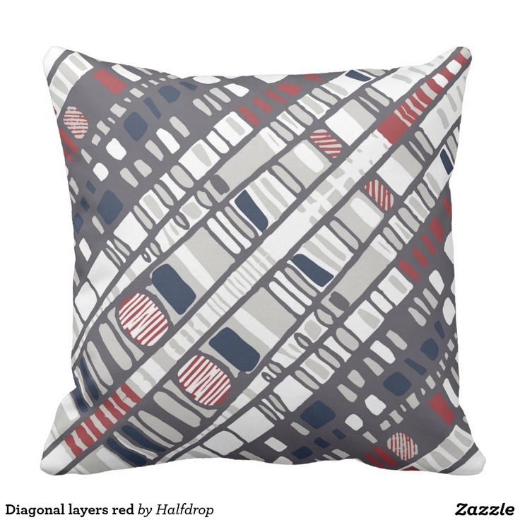 Diagonal layers red pillow