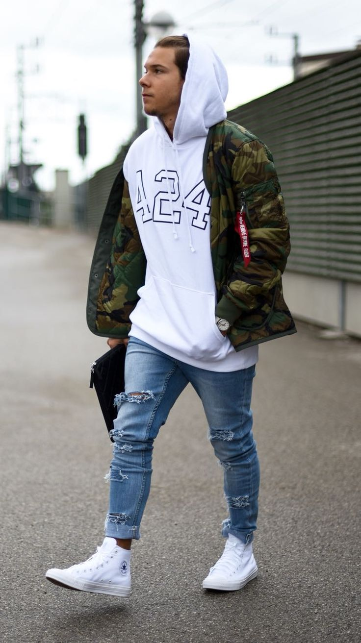 Apparel | Today Im Wearing A Hoodie By @424inc, Light Camo Jacket By @alphaindustries, Jeans By @cheapmonday, Shoes By @converse And Mac Bag By @asos_de.