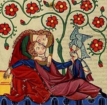 Scena di idillio e falconeria di ambiente svevo: Federico II e Bianca Lancia (madre di Manfredi), nel Codex Manesse  Moamin  Una possibile identificazione di Moamyn: Ḥunayn ibn Isḥāq, raffigurato nel capolettera d'un manoscritto dell'Isagoge di Porfirio Moamin (o Moamyn, fl. IX secolo; ... – ...) è il nome con cui nell'Europa medioevale era conosciuto un falconiere arabo del IX secolo, autore di un importante trattato di falconeria, che conobbe un grande fortuna nell'Europa medievale…