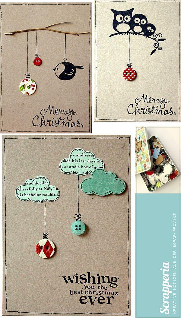Tarjetas de Naviad hechas a mano con cartulina, botones y mucha imaginación.