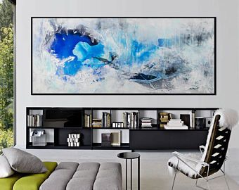 Large Abstract seascape giclee print on paper canvas from painting horizontal black white black grey 'so long winter' 611