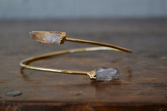 Upper Arm Cuff /// Lux Divine Double Quartz Point Gemstone Arm Wrap/// Gold