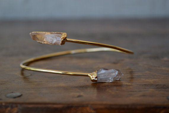 Upper Arm Cuff /// Lux Divine Double Quartz Point Gemstone Arm Wrap/// Gold