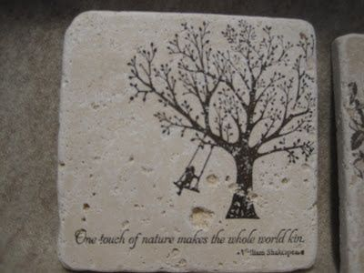 Sunday View: Travertine Tile Coaster Tutorial by Laura Turner