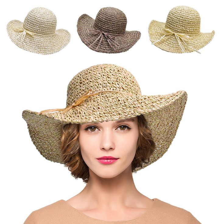 Glitter Womens Paper Crocheted Sun Crusher Medium Wide Brim Sun Roll Up Hat T240