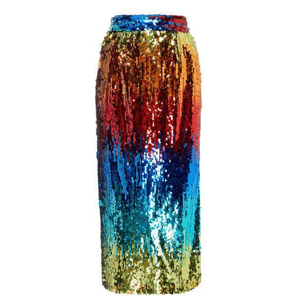 Alcoolique Araka Rainbow Sequin Skirt ($325) ❤ liked on Polyvore featuring skirts, multi, pencil skirts, rainbow skirt, red pencil skirt, sequin skirts and red skirt