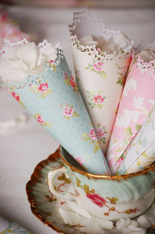 Vintage Wedding Accessories: rose petals wrapped in old wallpaper cones. #weddings #vintagewedding