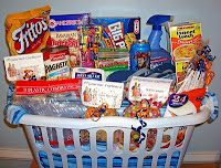 "Create a Going Away Basket for a college student!   (I want to do this for my niece, Nina!) Some of the sayings that go with the items in the basket are:  Skittles – May your college experience be as ""colorful as a rainbow""  Good-n-plenty- May you have ""good"" times and ""plenty"" of success in college.  Candle – The ""burning light"" of the candle represents your constant hard work and dedication throughout college. (Nina loved her gift! I used a really cute decorative box instead of the…"