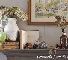 10 DIY Home Decor Tricks: Fall Mantel Decor Using Vintage and Found Items