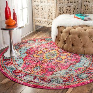 NuLOOM Distressed Abstract Vintage Oriental Multi Round Rug 53 Pink Polypropylene Floral