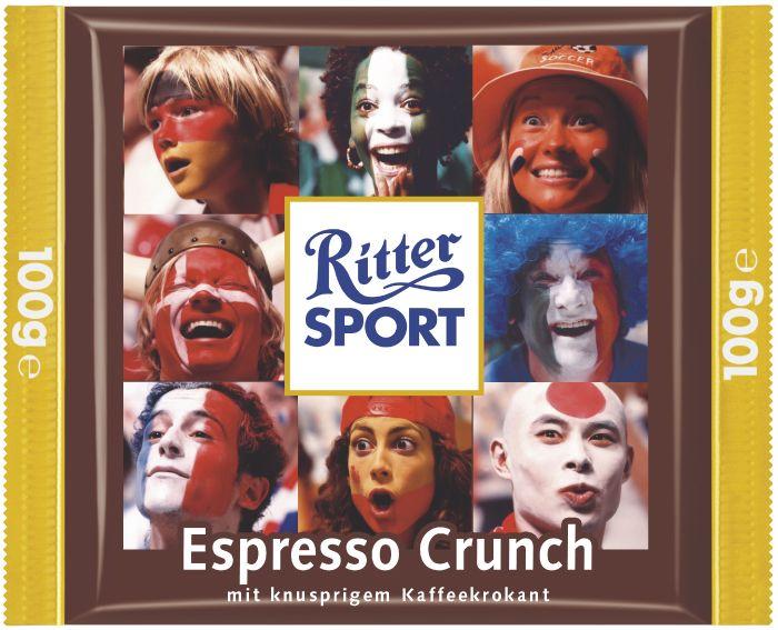 Ebenso die RITTER SPORT Espresso Crunch Schokolade –eine Fan-Sonderedition zur Fußball Weltmeisterschaft 2006.