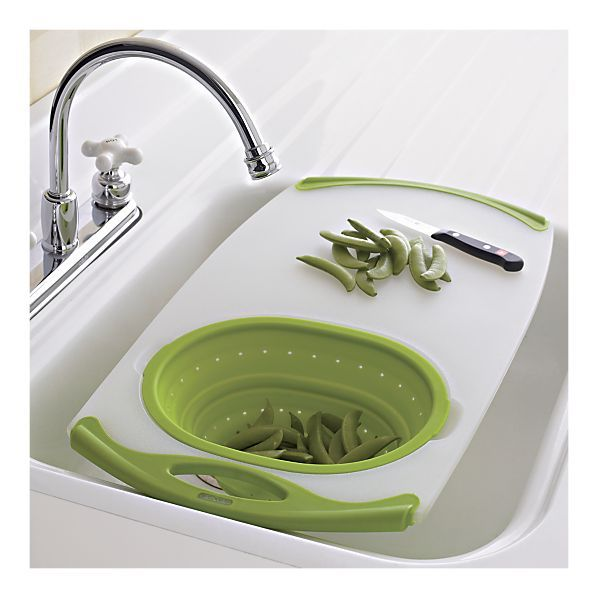 Over-the-sink cutting board and strainer from Crate and Barrel