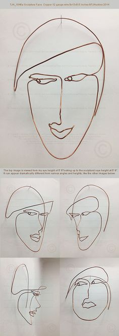 Theo J Huckins creates graphic sculpture that is a dimensional drawing shaped from a strand of copper wire. Each Face is a single cursive line of bare metal that sketches an expressive personality with a palpable depth.