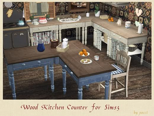 Wood kitchen counter by pocci garden breeze sims 3 ts3 for Sims 3 kitchen designs