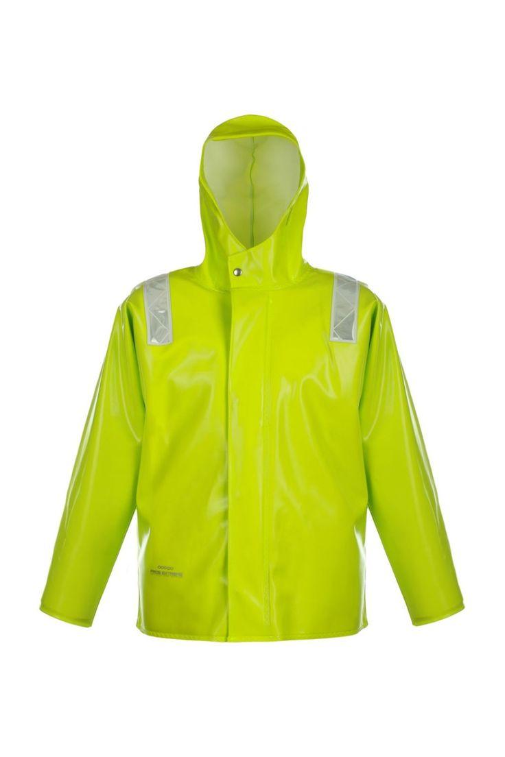 """КУРТКА ШТОРМОВАЯ ВЛАГОЗАЩИТНАЯ model: 3166 Куртка с центральной бортовой застежкой на тесьму – """"молнию"""", с ветрозащитной планкой. Рукава с внутренними манжетами. Призматические ленты на куртке обеспечивают защиту рабочих при плохой видимости. Куртка с двусторонними герметичными швами, выполнена из влагостойкой, прочной ткани Opalo. Рекомендуется для рыболовецких работ в тяжелых атмосферных условиях. Защищает от дождя и ветра. Ткань Opalo отличается большой стойкостью к соленой воде."""