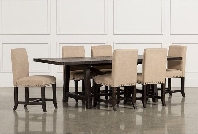 Jaxon 7 Piece Rectangle Dining Set W Upholstered Chairs Dining Room Sets Rectangle Dining Set Dining Set