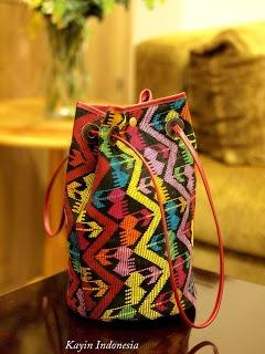 Bima's tenun in bucket bag