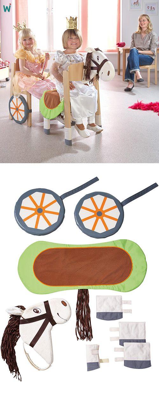 """Stuhlverkleidungs-Set Ob Auto oder Bus, Pferd oder Kutsche – mithilfe der Stuhlverkleidungen werden aus alltäglichen Stühlen tolle """"Requisiten"""".  https://shop.wehrfritz.de/de_DE/Stuhlverkleidungs-Set-Pferd-Verkleidungen-and-Berufe-Schule-and-Hort/p/090586_1?zg=schule_hort&ref_id=60847 #Kreativität #Kindergarten #Spiel #Nachahmung"""