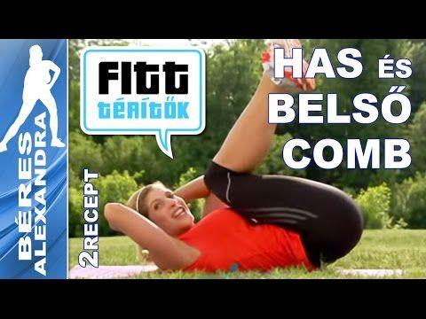 Béres Alexandra - Hasizom és belső comb edzés - receptek (Fitt-térítők sorozat) - YouTube