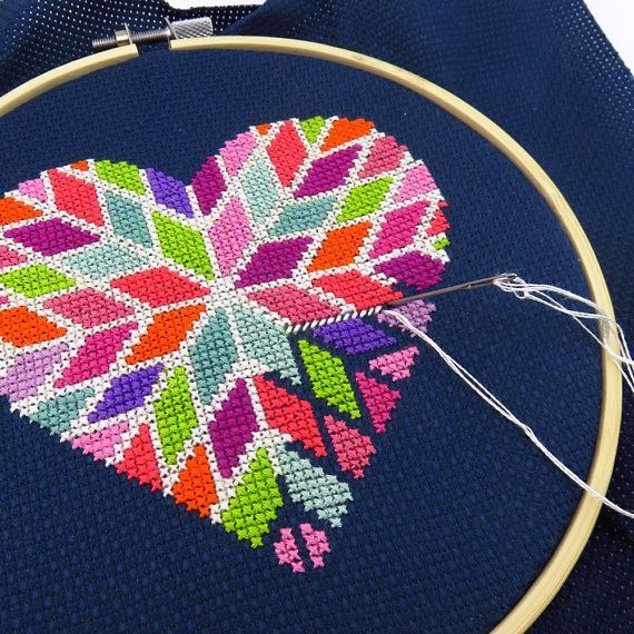 Looking for a romantic Valentines Day counted cross stitch pattern? This geometric heart cross stitch is full of color and has a modern design that will give cross stitch love to your wall this February. With 12 DMC floss colors, it's a heart xstitch embroidery pattern that you can #crossstitchpatterns