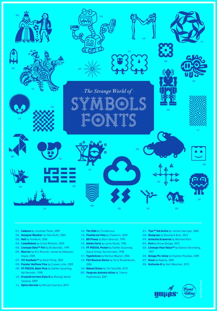 Symbols fonts are a class apart in the world of typography: ornaments, figures, pictograms, patterns, arrows, and so… They are unknown to the global