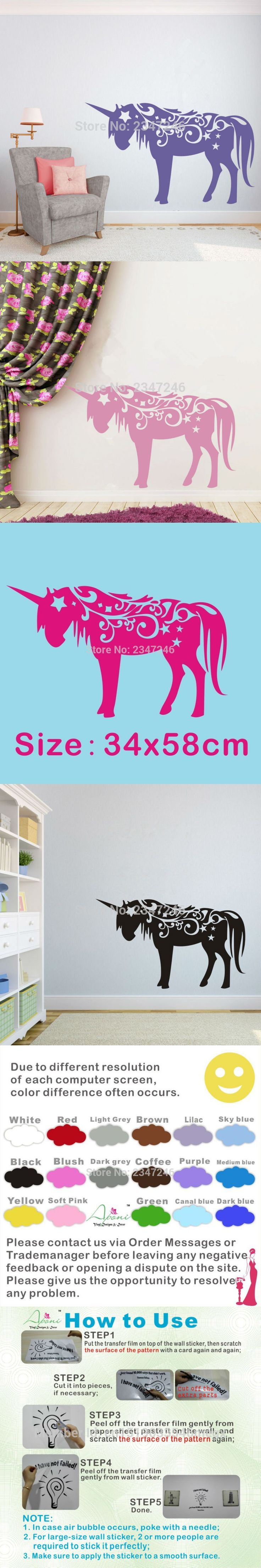Best 25 wall stickers for nursery ideas on pinterest star wall unicorn horse wall decal home decor sticker art vinyl wall stickers for nursery kids bedroom gril room decoration amipublicfo Image collections